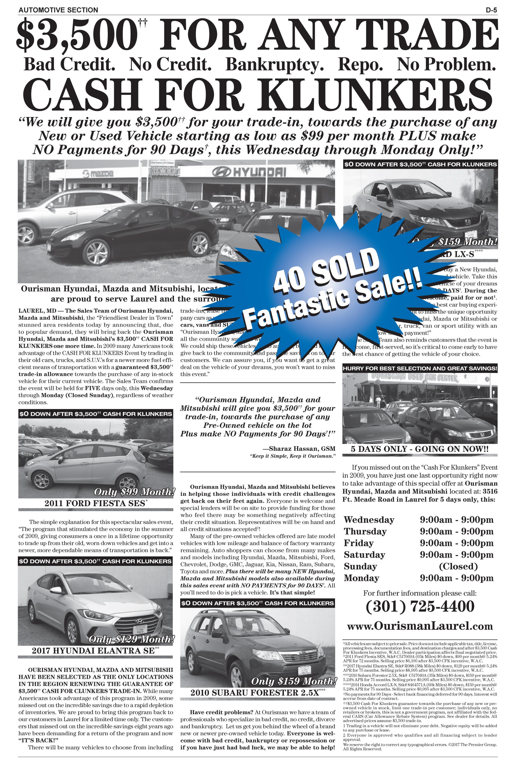 Ourisman Hyundai Mazda Mitsubishi_Credit Forgive-3500 CFK_Used_110117