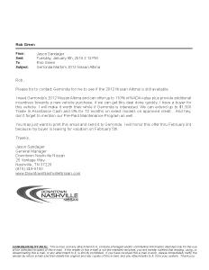 Downtown Nashville Nissan_Email Letter